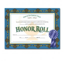 Certificates - Honor Roll Blue Ribbon