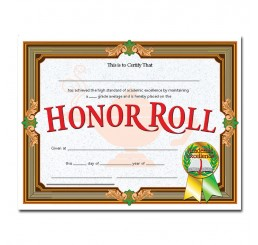 Certificates - Honor Roll Gold Banner
