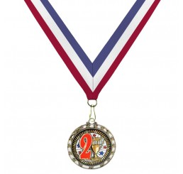 Holographic Science Medal - Second Place w/ Tri-Color Ribbon