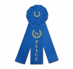 Custom Rosette Ribbon - First Place - Blue